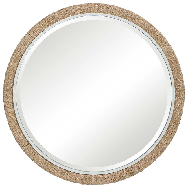 Large Wrapped Raffia Round Wall Mirror Clear Home Design