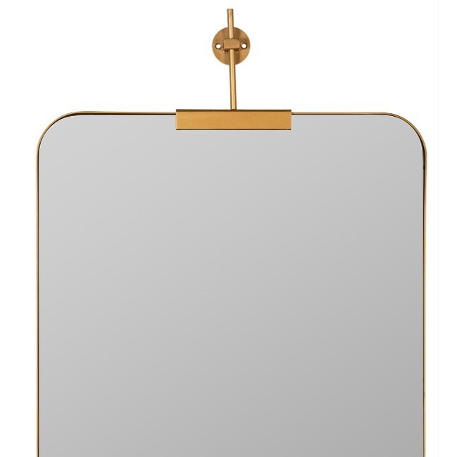 cooper classics gold Frida bracket clamp top modern rounded corners wall mirror