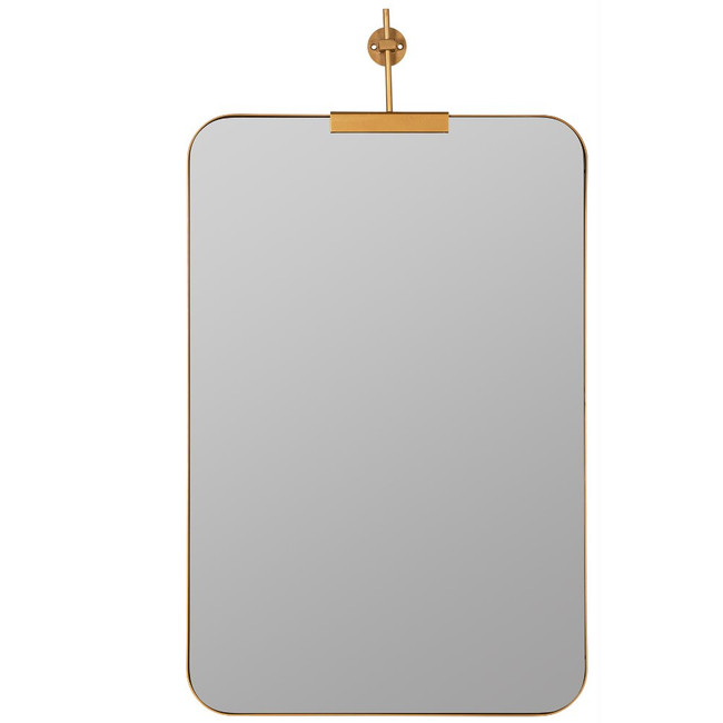 gold Frida bracket clamp top modern rounded corners wall mirror
