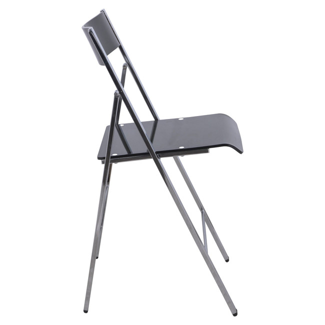 leisuremod menno modern acrylic lucite folding game chair metal frame black chrome