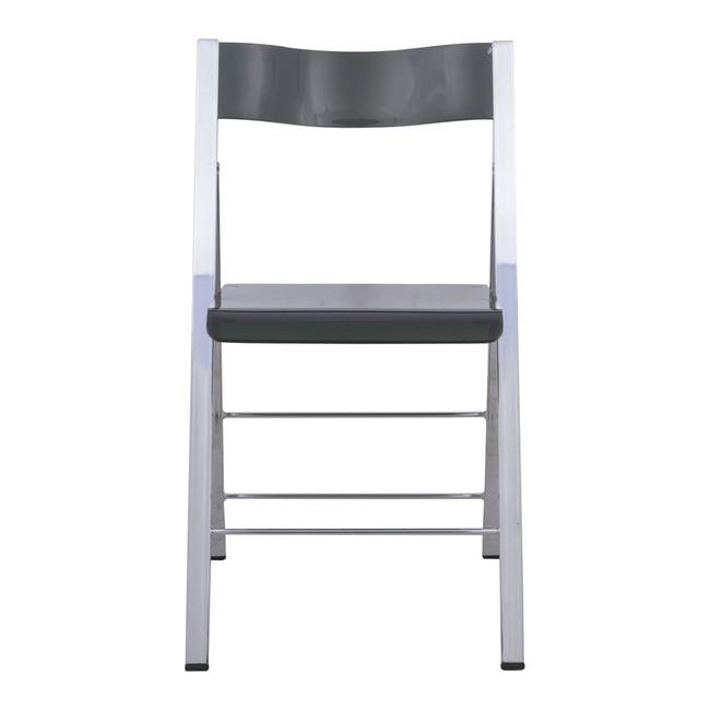 leisuremod menno modern acrylic lucite folding game chair metal frame black chrome frame
