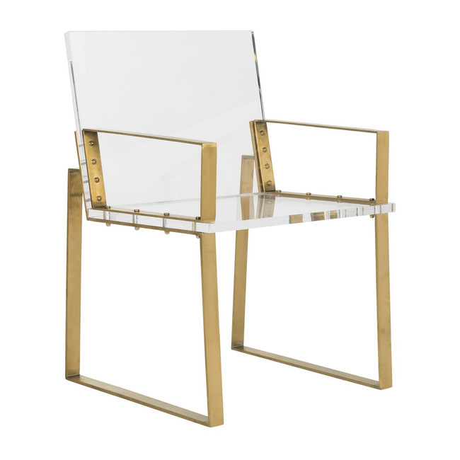 safavieh Langston acrylic arm chair and gold dining chair office chair desk chair with brass