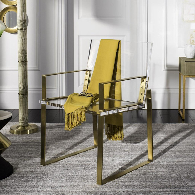 safavieh Langston acrylic arm chair gold dining chair with clear seat and bottom campaign style