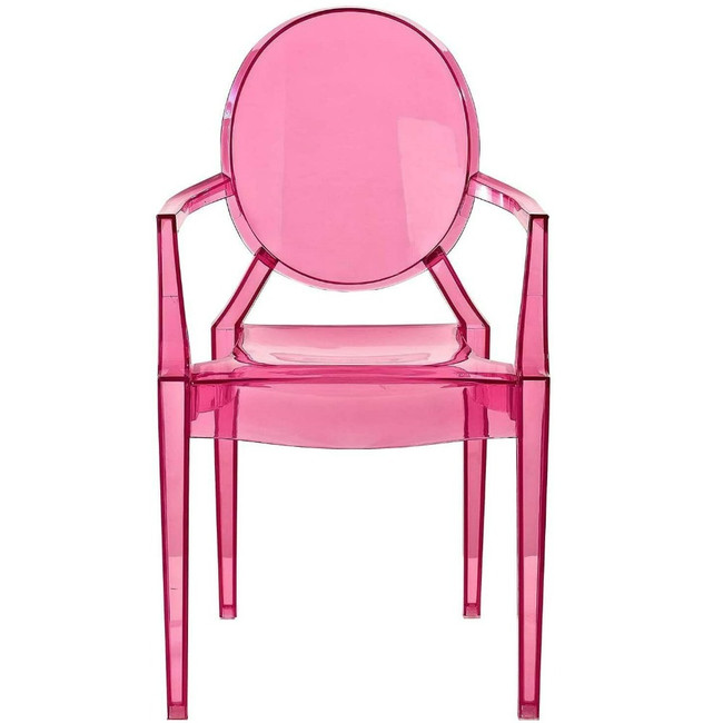 clear acrylic ghost copy chair with arms sheer transparent pink modern stackable Kartell cheap