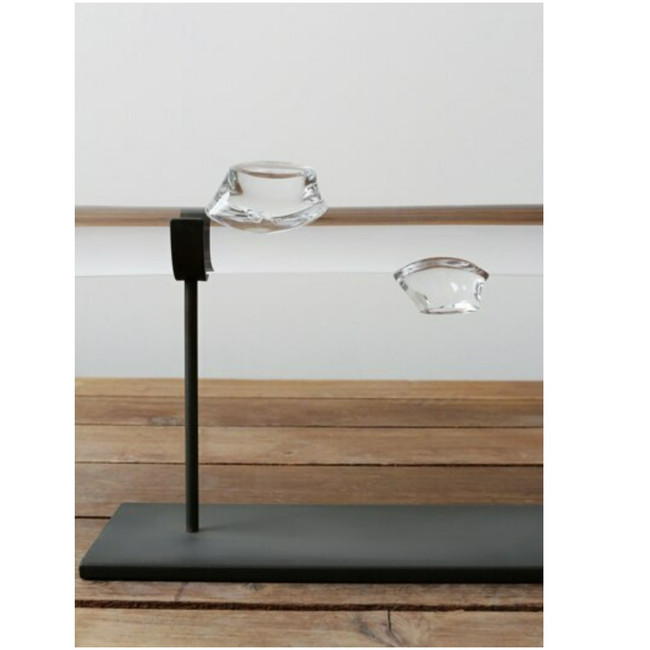 decorative glass sculpture on stand for living room sklo studio root on black metal stand
