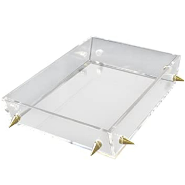 rojo 16 rug market clear lucite acrylic serving decorative tray silver chrome studs modern