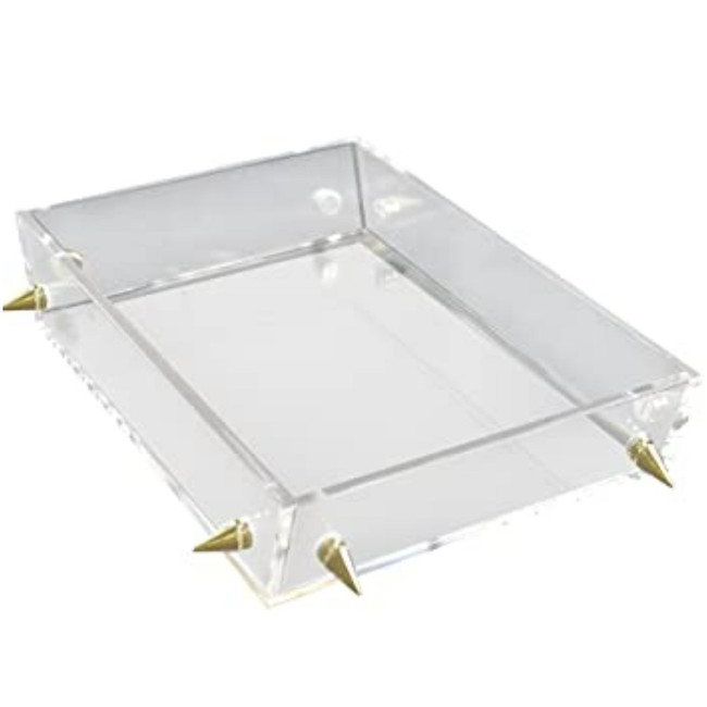 rojo 16 rug market clear lucite acrylic serving decorative tray silver chrome studs moderm