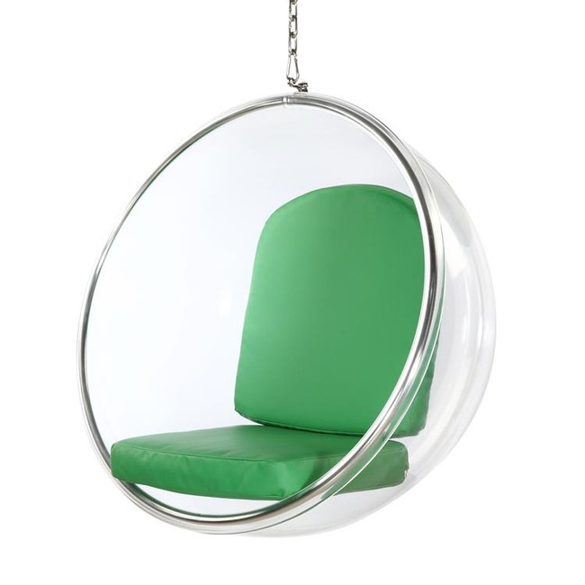 finemod  FMI1122 clear hanging bubble chair acrylic lucite plastic chrome chain green cushions