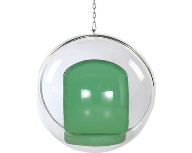 Clear Bubble Chair with Green Cushion & Chrome Chain