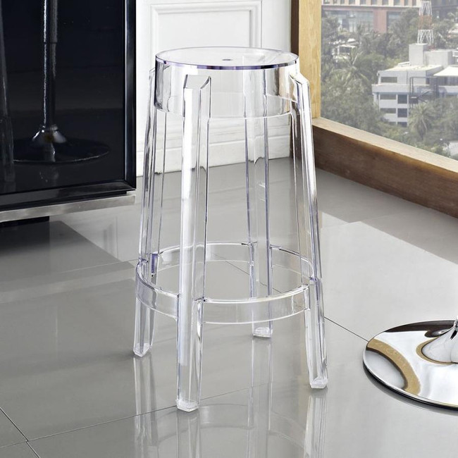 compamia fox clear transparent black polycarbonate ghost style barstool acrylic