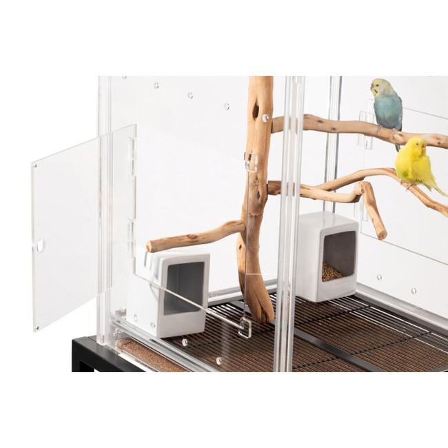 hopper hall table top bird cage modern lucite acrylic see through