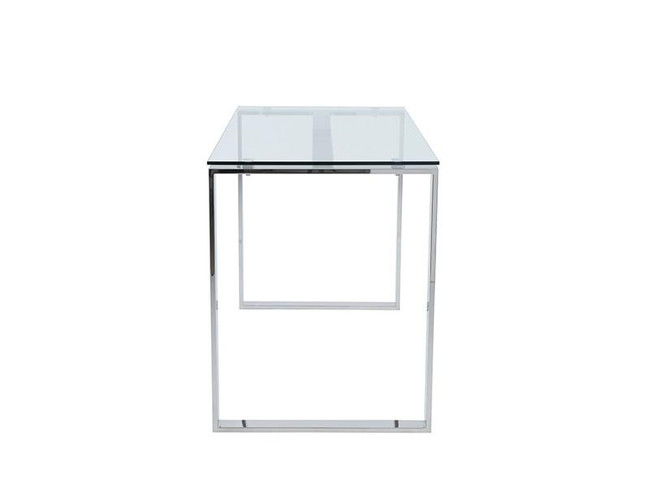 Modern Stainless Steel Glass Top Writing Desk L shape wheels casters tempered  eurostyle diego