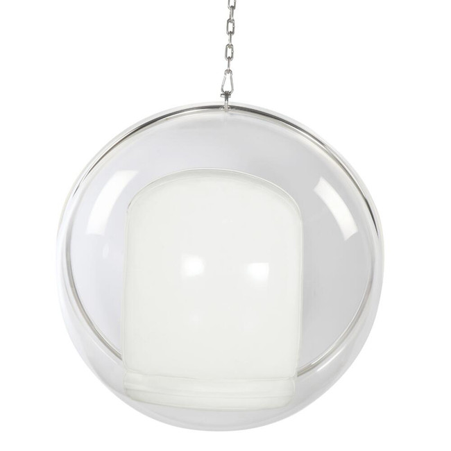 fine mod imports ball acrylic accent bubble standing chrome chair white cushion set included