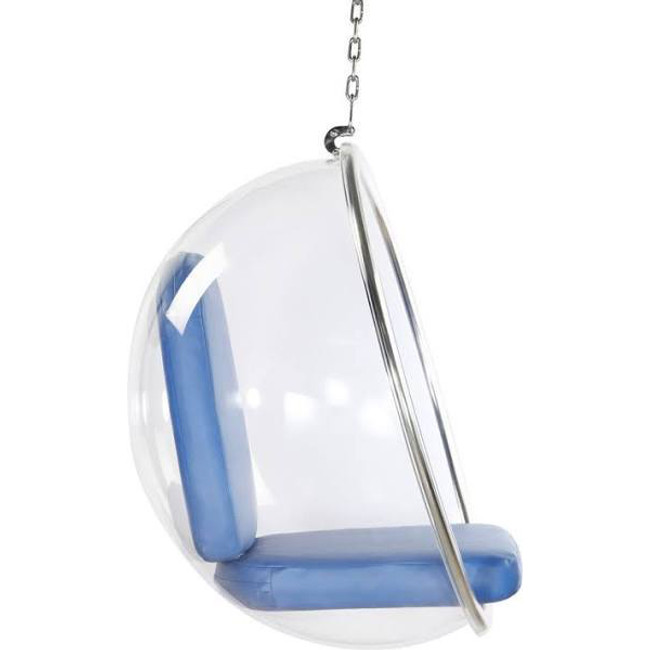 finemod  FMI1122 clear hanging bubble chair acrylic lucite plastic chrome chain blue cushions