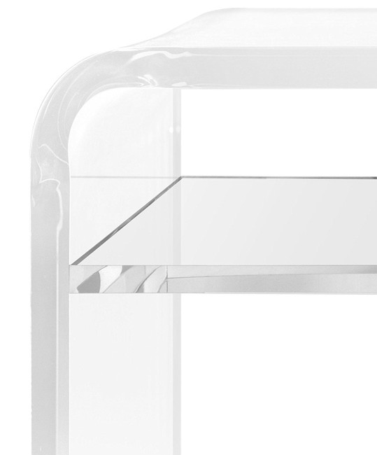 Clear Lucite Waterfall Rectangular Coffee Table acrylic storage shelf modern cocktail