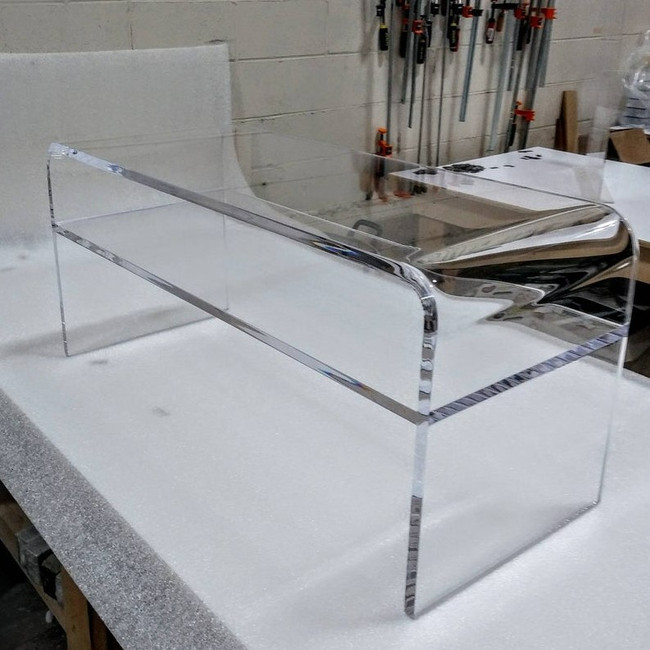 custom lucite clear acrylic double level storage shelf waterfall rectangular coffee cocktail table
