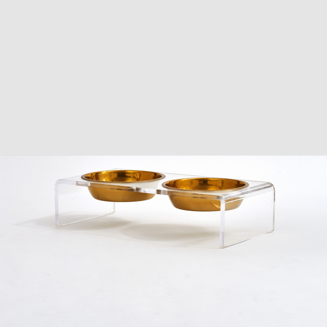 Small Acrylic Double Bowl Feeder with Gold Bowls, by Hiddin.co