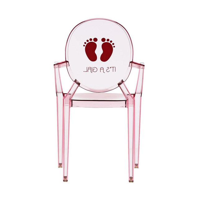 Kartell Lou Lou Light pink It's a girl Chair lucite acrylic kids child size baby ghost