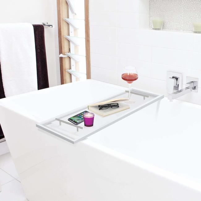 clear acrylic lucite modern bath caddy handles