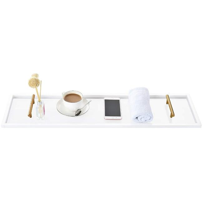 clear acrylic lucite modern bath caddy gold brass handles