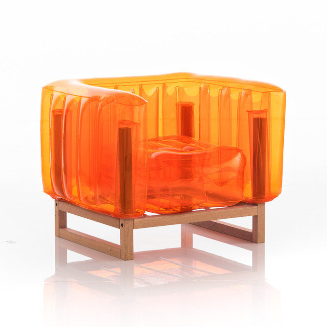 Blow Up Chair with with Wood Frame,   Color Options