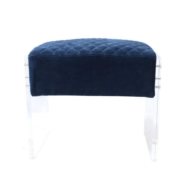 blue Stool navy velvet tufted acrylic leg lucite clear panel modern