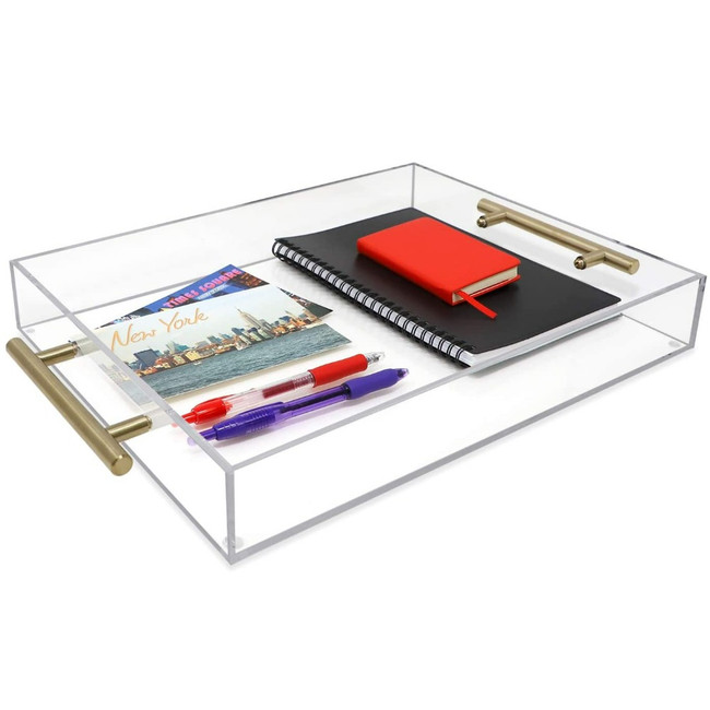 modern clear acrylic lucite gold handles brass rectangular square large serving make up tray