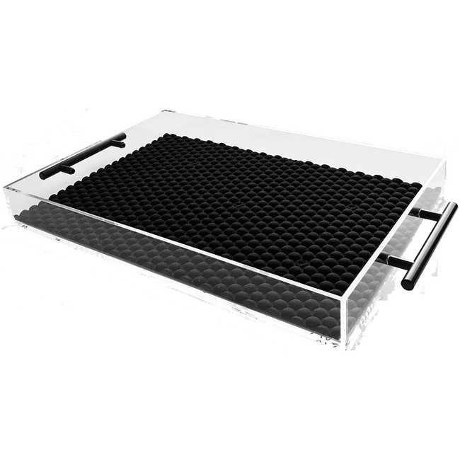 Modern Lucite Tray with Black Handles and Liner