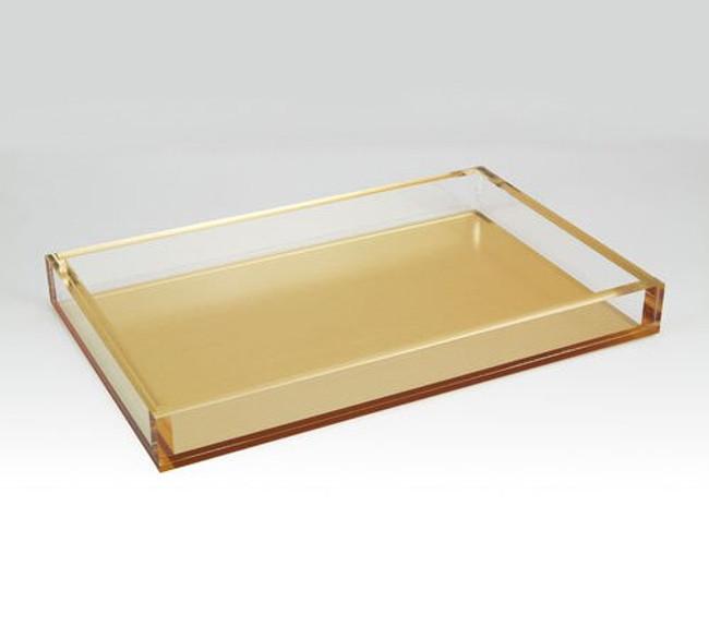 large brushed gold lucite serving tray tizo acrylic make up tray
