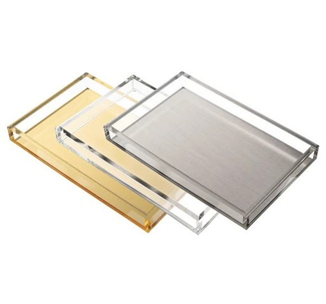 large silver and lucite serving tray with brushed nickel tizo