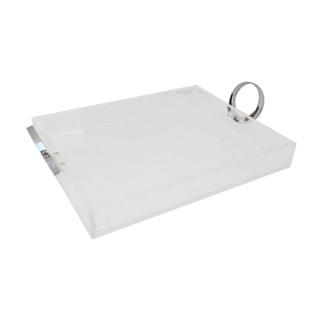 Clear Lucite Tray with Bright Chrome Ring Handles ( rojo LTR02-CS