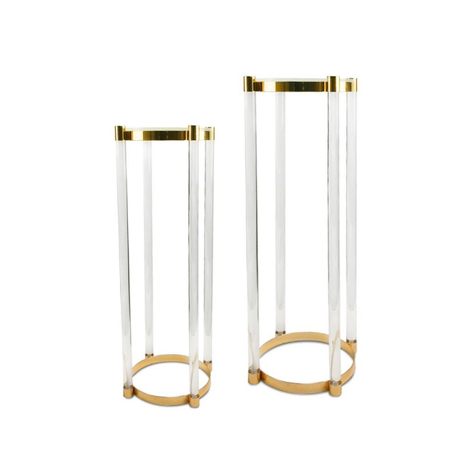 Round Gold and Acrylic Display Pedestals,