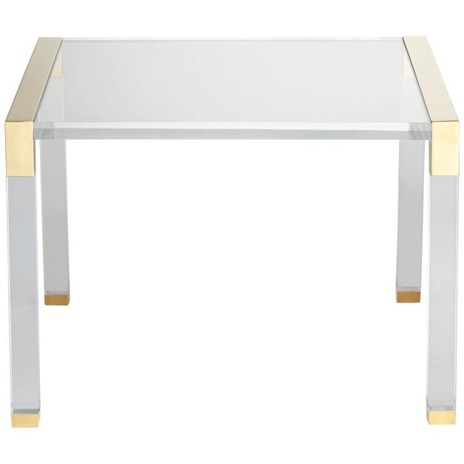 Modern Brass and Acrylic Sleek Side Table (hannah 23.5 side table)