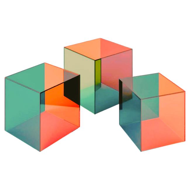 Custom Multi Color Acrylic Cube Side Table