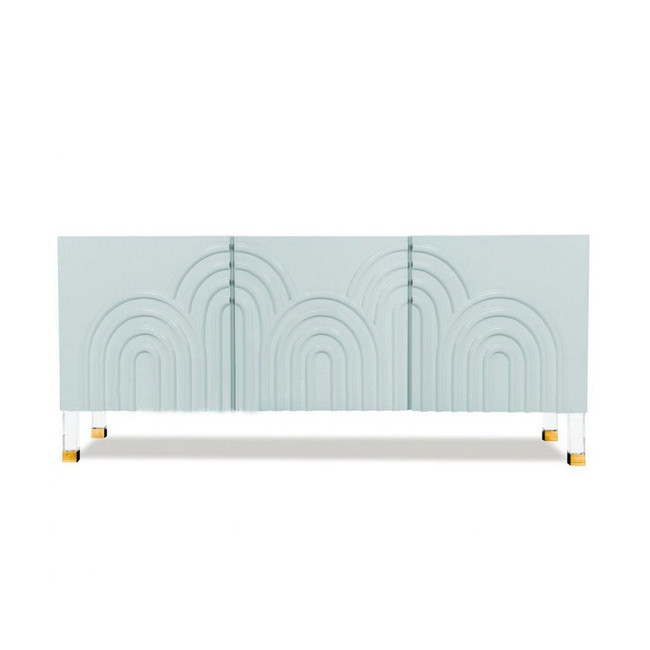 Light Blue 3 Door Ribbed Credenza with Lucite Hardware