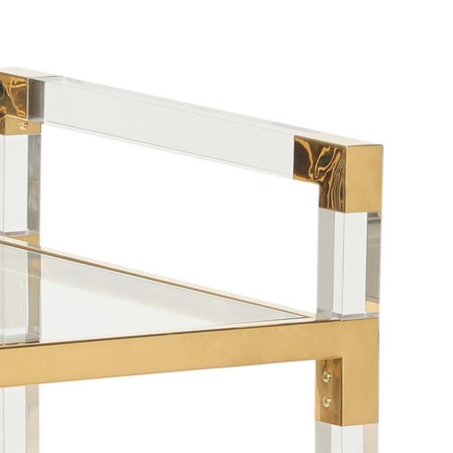 Modern Brass and Square Lucite Leg Bar Cart (383848)
