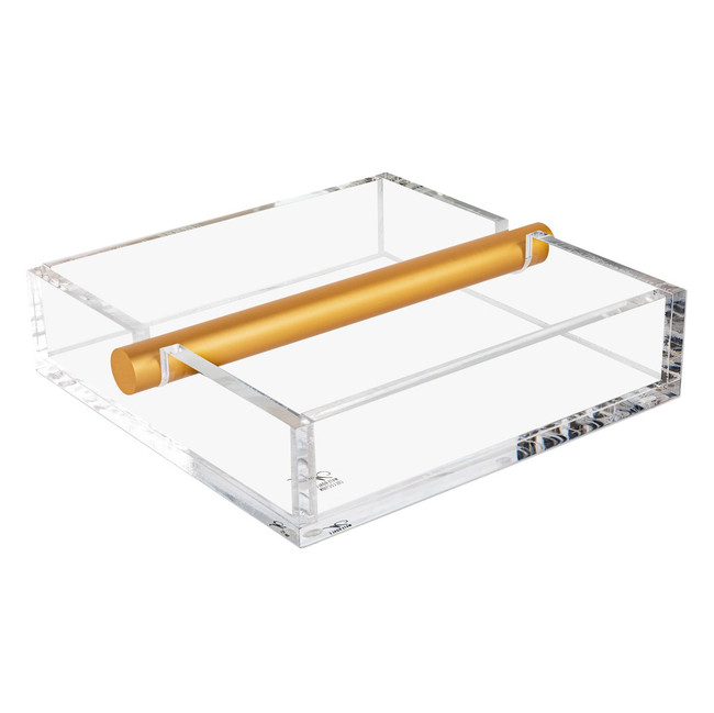 Clear Lucite and Metal Napkin Holder