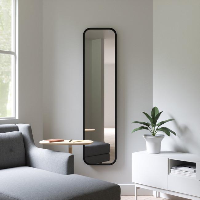 Modern Black Rubber Frame Leaner Mirror (hub leaner mirror)