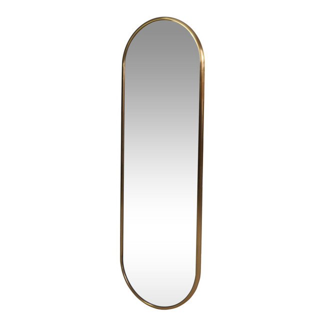 Modern Pill Shape Oval Gold Wall Mirror
