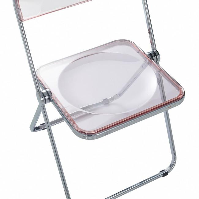 LF19PK sheer pink modern lucite acrylic retro modern chrome folding card bridge table chair