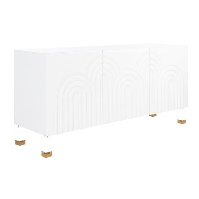 white lacquer clear lucite legs gold detail Safavieh Couture Saturn Wave Acrylic Sideboard