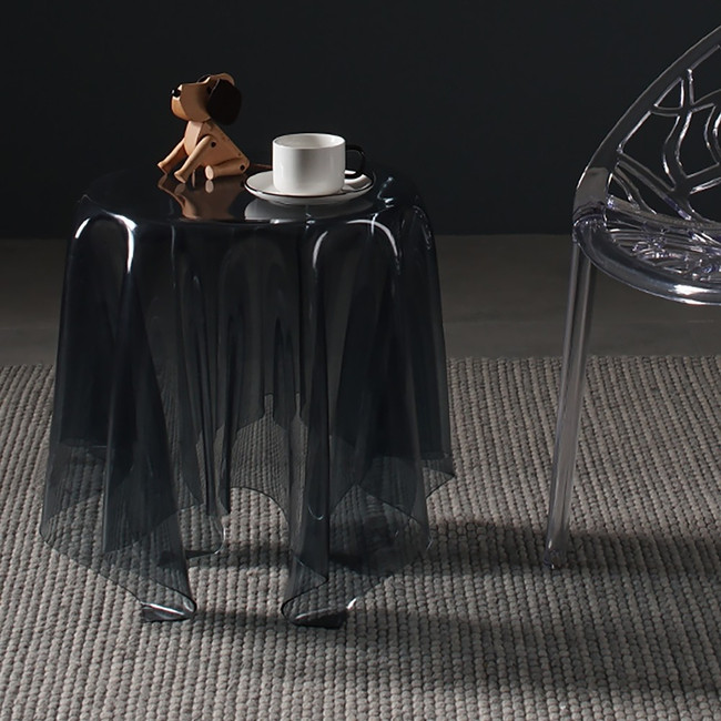 sheer grey smoke black acrylic lucite illusion skirted side end accent table