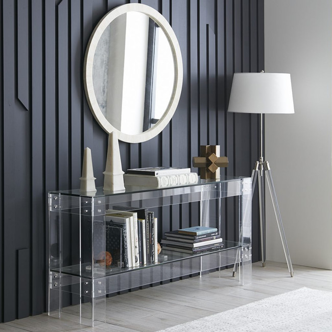 Clear Acrylic Console Table with Shelf & Metal Bolts