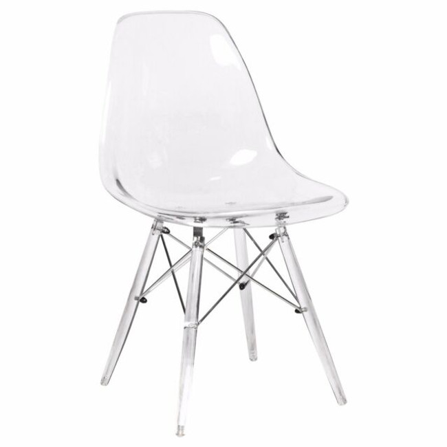 Molded Midcentury Modern Style Side Chair - Clear Seat and Legs