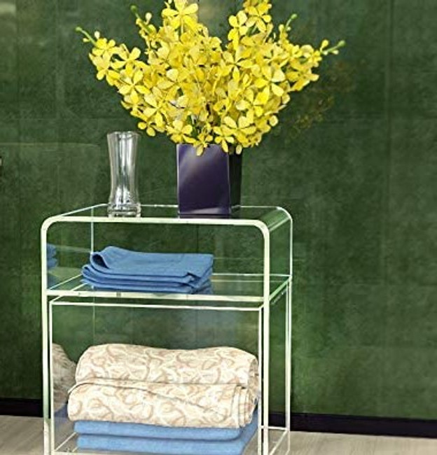 Clear Acrylic Waterfall Pull Out Hamper & Table