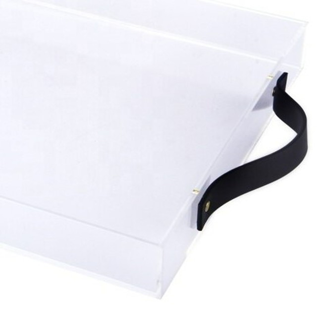 Large Acrylic Serving Tray with Leather Handles