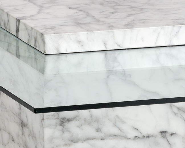 White Faux Marble Base Square Coffee Table with Offset Glass