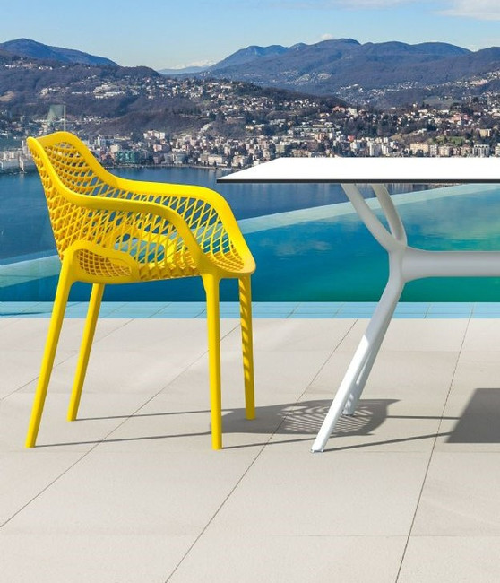 White Outdoor Poly Resin Rectangular Dining Table, Options