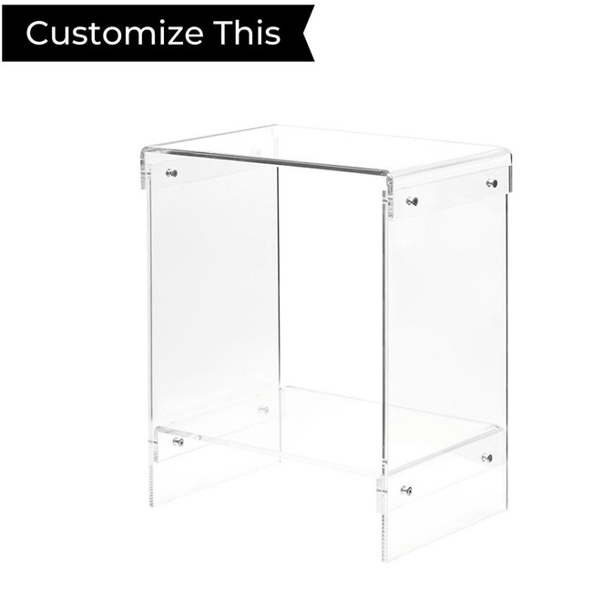 Clear 2 Shelf Side Table with Chrome Bolts