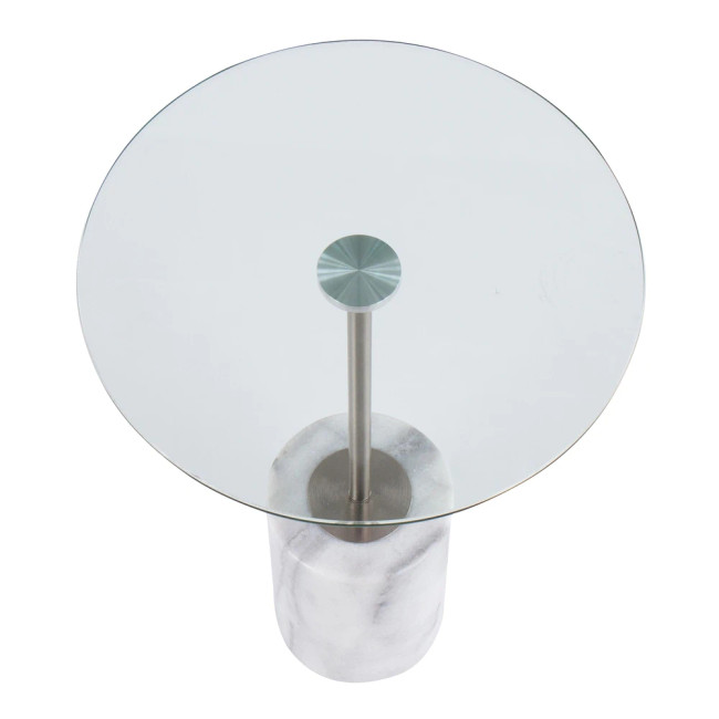 Round Glass Drink Table with White Marble Base